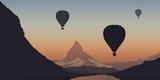 Montgolfière - montagne - Mont Cervin - évasion - liberté - calme - coucher de soleil - Suisse