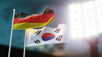 3D Illustration. Two national flags waving on wind. Night stadium. Championship 2018. Soccer. Germany versus South Korea