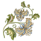 decorative vintage gold and blue flower - 209041384