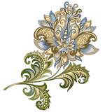 decorative vintage gold and blue flower - 209041395