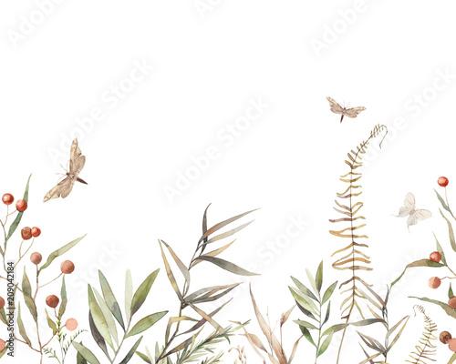 akwarela-suchych-ziol-bez-szwu-granicy-recznie-malowany-ornament-botaniczny-rosliny-trawa-jagody-paproc-liscie-projekt-obiekty-naturalne-na-bialym-tle