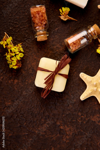 Fotobehang Spa Spa concept. Aromatic candles, towel