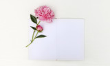 Sketchbook mockup with a peony, floral flatlay - 209046981