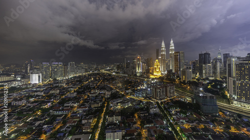 Fotobehang Lavendel High angle view of cityscape Kuala Lumpur during night