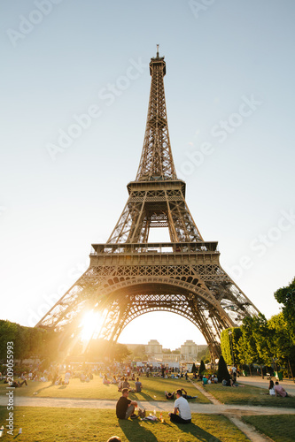 Sticker Paris, France - June 19, 2017: View of Eiffel tower, view from Champ de Mars in the morning with a blue sky in a background