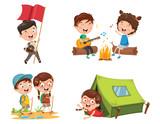 Vector Illustration Of Kids Camping - 209061161