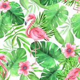 Seamless tropical pattern with pink flamingos. Watercolor illustration 3