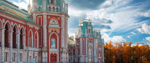 Fotobehang Moskou Moscow, Tsaritsyno Park. Beautiful Palace, red brick. Manor in Russia, Moscow