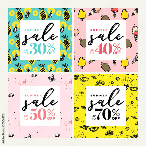 Summer sale website banners collection. Trendy vector illustration concept for online shopping, internet marketing and print material.  - 209068911
