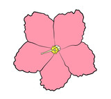 Vector illustration, isolated pink violet flower, outline hand painted drawing - 209069961