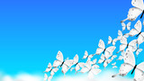 Realistic Butterfly Climbing Over Clouds In the Sky. Modern Vector Background
