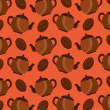 coffee maker and seeds grain aroma background design vector illustration - 209075733