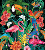 Composition of Tropical Flowers and Birds