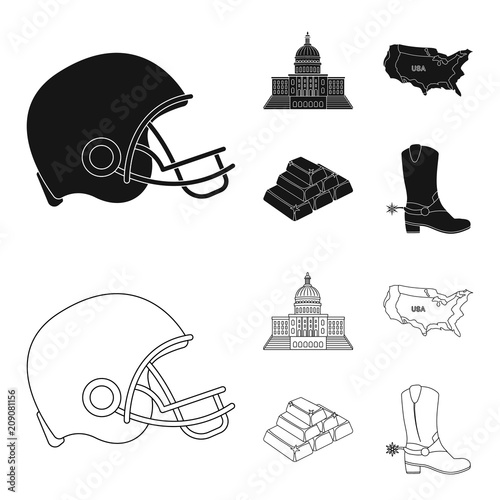 Football player's helmet, capitol, territory map, gold and foreign exchange. USA Acountry set collection icons in black,outline style vector symbol stock illustration web.