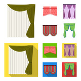 Curtains, stick, cornices, and other web icon in cartoon,flat style.Bow, fabric, tulle icons in set collection. - 209081789