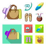 Diving, surfing, cocktail.Summer vacation set collection icons in cartoon,flat style vector symbol stock illustration web. - 209082974