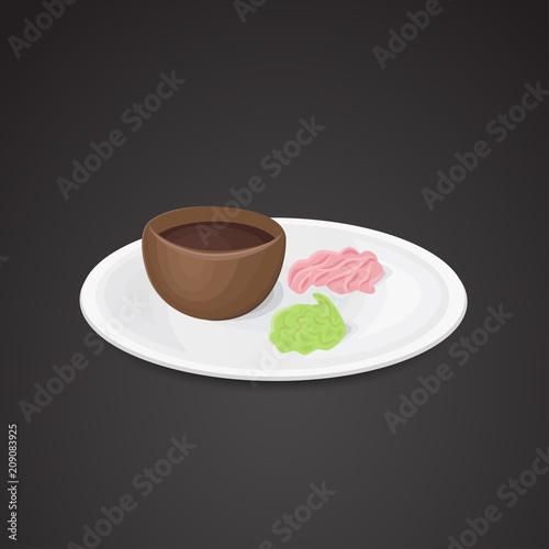 Sushi sauce, wasabi, ginger vector art.