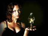 young girl holding a retro lantern - 209084151