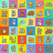 pattern design with cats cartoon characters - 209085907