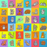 pattern design with cats cartoon characters