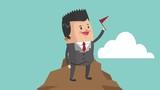 Businessman in mountain peak cartoon High Definition animation colorful scenes - 209085955