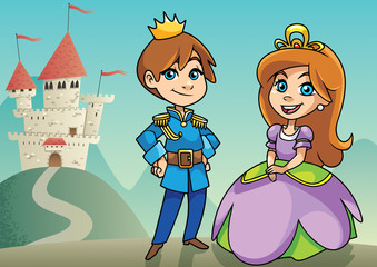 Prince and Princess / Illustration of happy little prince and princess on fantasy background.
