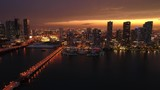 Aerial b roll glowing city and sunset Miami Florida night - 209086790