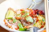 Spicy Thai Noodles with herbs, Tomyam noodles, Thai food, Thailand - 209087304