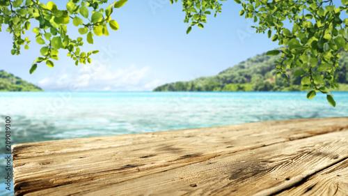 Leinwanddruck Bild desk of free space and sea landscape