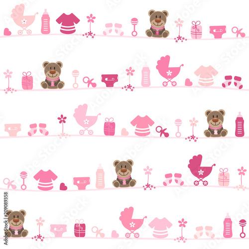 Seamless Pattern Teddy Baby Symbols Girl Pink