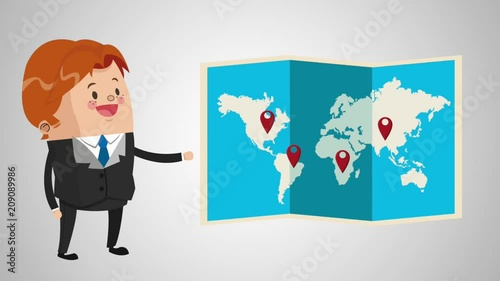 Businessman with world map cartoon High Definition animation colorful scenes