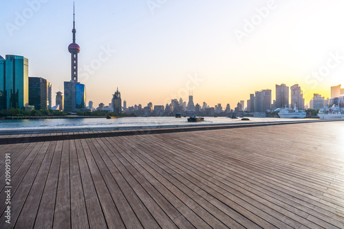 Fotobehang Shanghai panoramic city skyline with empty square