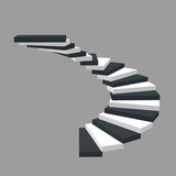 Spiral staircase. Isolated on grey background.3d Vector illustration. - 209092711