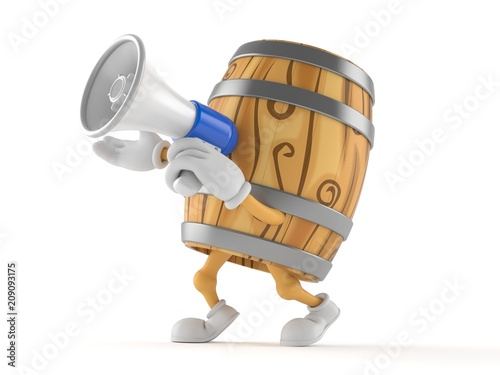 Cask character speaking through a megaphone