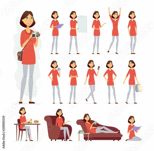 Ładna kobieta - zestaw znaków ludzie kreskówka wektor