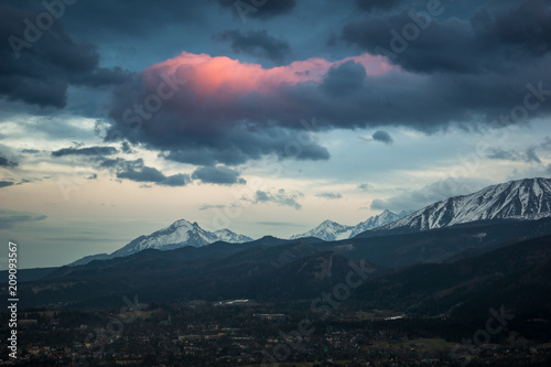 Panorama of Tatra mountains and Zakopane city from Koscielisko, Poland