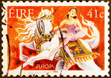 Circus horsewoman on irish postage stamp
