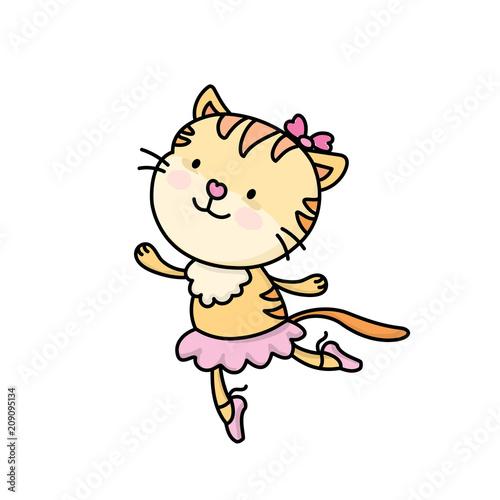 Cute cartoon ballet dancer cat