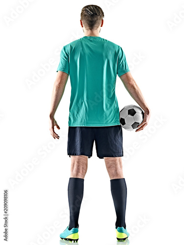 one caucasian soccer player man standing Rear View holding football isolated on white background