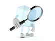 Leinwanddruck Bild - Ice cube character holding magnifying glass