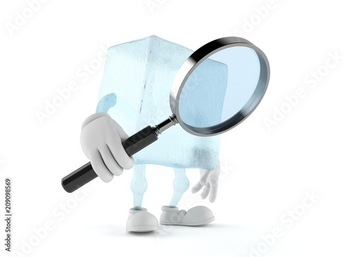 Leinwanddruck Bild Ice cube character holding magnifying glass
