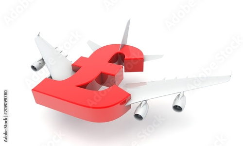 3D illustration of Pound sign with plane wings