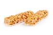 Healthy granola munchies on white background