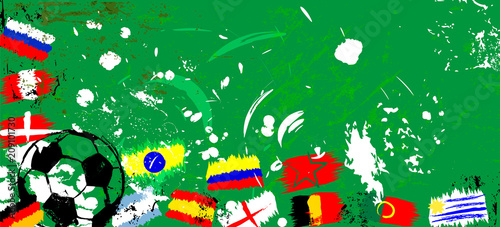 Aluminium Abstract met Penseelstreken abstact soccer / football illustration, with soccer ball and flags, grungy style