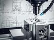 Leinwandbild Motiv 3D-Illustration CNC-Fräse Metalverarbeitung