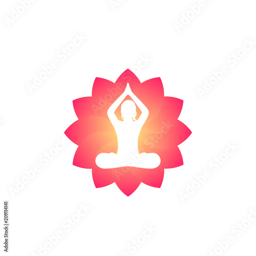 Wall mural yoga logo, meditating girl in lotus position