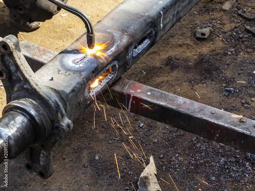 Man using gas welding