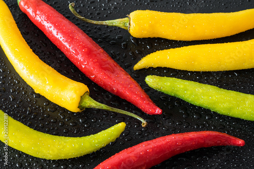Aluminium Hot chili peppers red yellow and green colorful chilli peppers