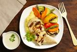 healthy food chicken fillet steamed and vegetables - 209122308