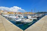 Rovinj, Croatia - May 21, 2018: Beautiful view on Yachts, fishing boats, Adriatic sea and Rovinj embankment, Croatia - 209123138